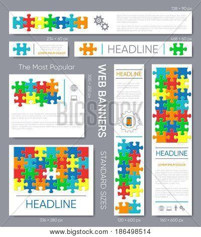 Modern vector banner templates collection puzzle pieces design