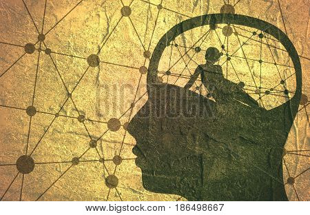 Relationship between man and woman. Silhouette of the young posing lady inside the head of a man. Man thinking about woman. Molecule And Communication Grunge Background. Connected lines with dots.