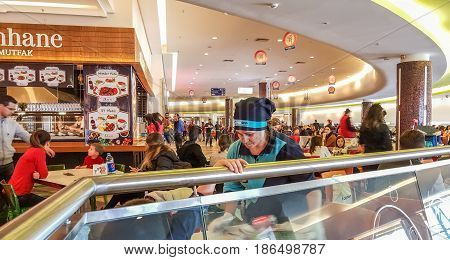 Eskisehir, Turkey - April 08, 2017: Crowded Food Court At Shopping Mall In Eskisehir