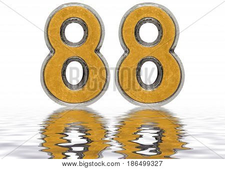 Numeral 88, Eighty Eight, Reflected On The Water Surface, Isolated On White, 3D Render