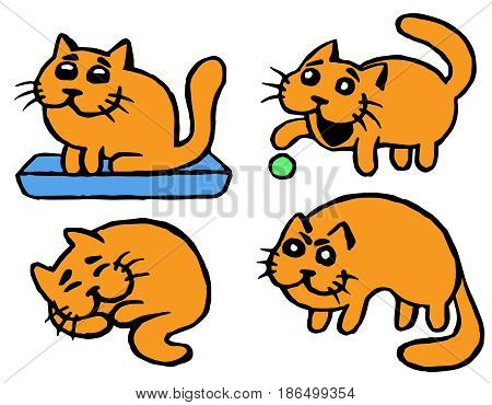 Cute Orange cats emoticons set. Funny cartoon cool character. Contour Freehand Digital Drawing Cats. White Color Background. Cheerful Pet Collection for Web Icons and Shirt. Isolated Vector Illustration.
