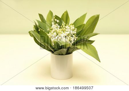 Bouquet of white lilies of the valley - flowers for bride at wedding