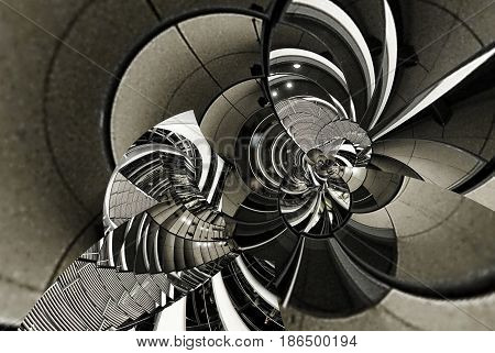 Abstract vintage texture architecture spiral of stairs, staircase, glass, metal, steel. Circle round curve line geometry. Fractal abstract architecture geometric background. Gray scale, toning