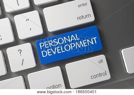 Personal Development Concept Laptop Keyboard with Personal Development on Blue Enter Key Background, Selected Focus. 3D render.
