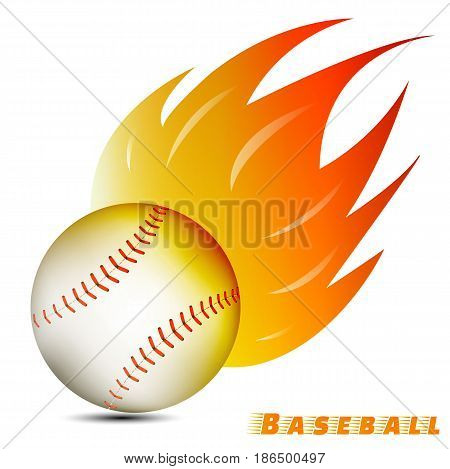 baseball ball with red orange yellow fire tone on white background. baseball team club logo. vector. illustration. graphic design.