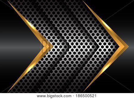 Abstract gold metal arrow on circle mesh design modern vector illustration.