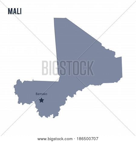 Vector map of Mali isolated on white background. Travel Vector Illustration.