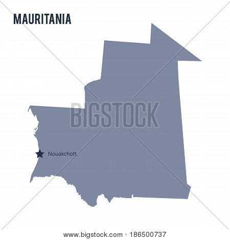 Vector map of Mauritania isolated on white background. Travel Vector Illustration.