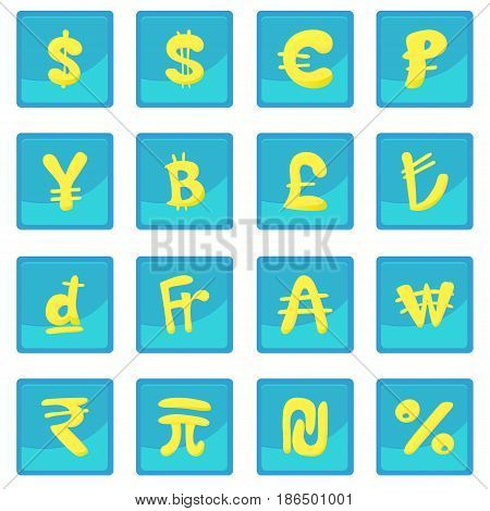 Currency icon blue app for any design vector illustration