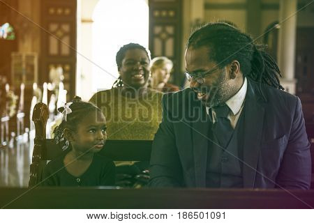 Father Daughter Sitting Church Believe Religion