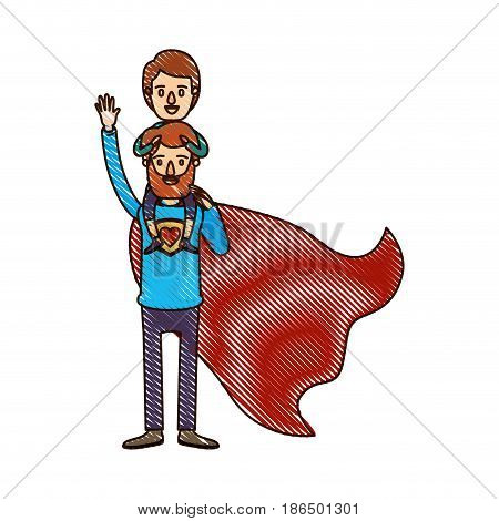 color crayon stripe cartoon full body super dad hero with boy on his back vector illustration