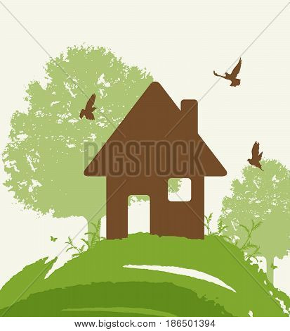 Background with green tree birds and house. Eco-friendly house concept.