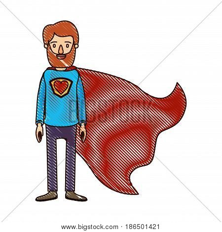 color crayon stripe cartoon full body bearded super man hero with heart symbol in uniform vector illustration