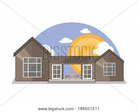 Sea Side Mountain Side Summer Landscape With House Table and Chairs Shiny sun and Clouds in Flat Design. Vector Illustration.