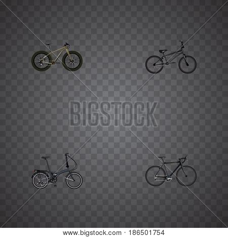 Realistic Bmx, Folding Sport-Cycle, Cyclocross Drive And Other Vector Elements. Set Of Bike Realistic Symbols Also Includes Cyclocross, Bmx, Extreme Objects.