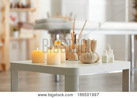 Beautiful spa composition on table in modern wellness center