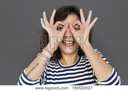 Woman Smile Emotion Expression Studio Portrait