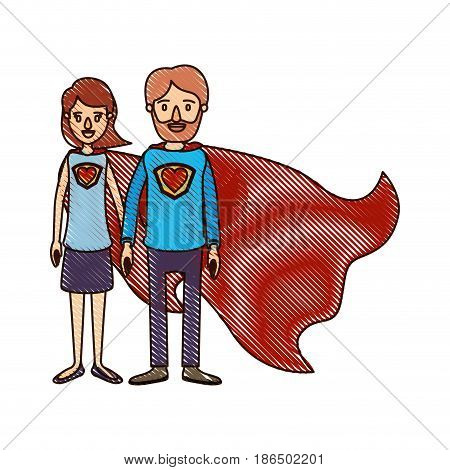 color crayon stripe cartoon full body couple parents super hero with heart symbol in uniform vector illustration