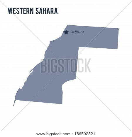 Vector map of Western Sahara isolated on white background. Travel Vector Illustration.