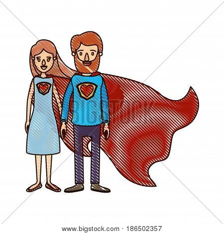 color crayon stripe cartoon full body couple parents super hero with uniform and cap vector illustration