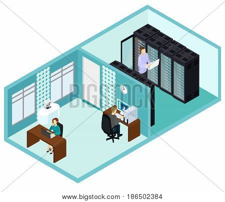 Isometric data center template with people working in office and technician repairing hosting servers vector illustration