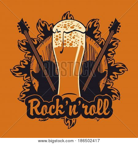 vector banner for the pub with live music.Illustration with a wooden keg beer glass guitars and inscription rock and roll in retro style