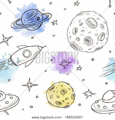 Vector hand drawn seamless pattern with space doodles on a white background