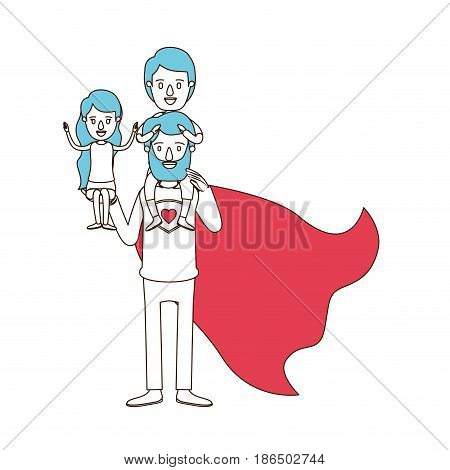 silhouette cartoon with color sections of full body super dad hero with girl on his hand and boy on his back vector illustration