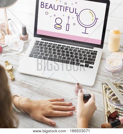Illustration of beauty cosmetics makeover skincare on laptop