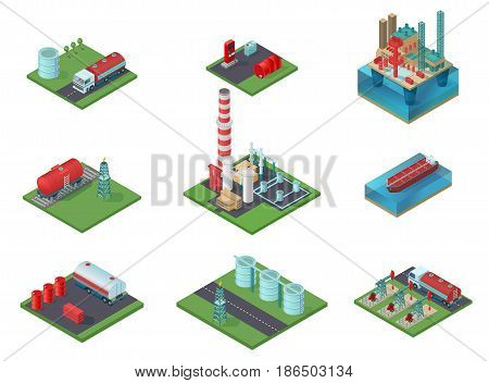 Isometric oil industry set with petrochemical plant drilling rigs transportation vehicles resource storage gas station barrels isolated vector illustration