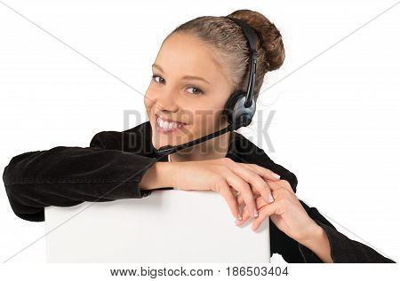 Woman women girl cheerful business attire business suit headset