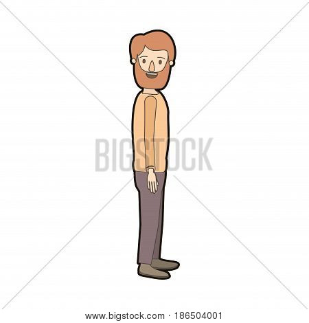 light color caricature thick contour full body man with beard and moustache looking to side vector illustration