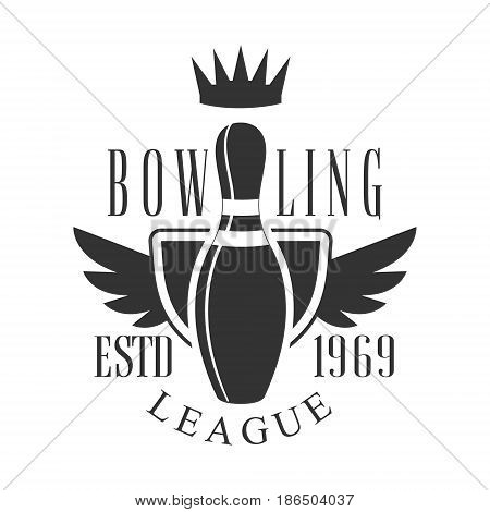 Bowling league vintage label. Black and white vector Illustration for bowling club emblem, tournament, champion, challenge