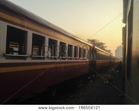 a train in train station at morning
