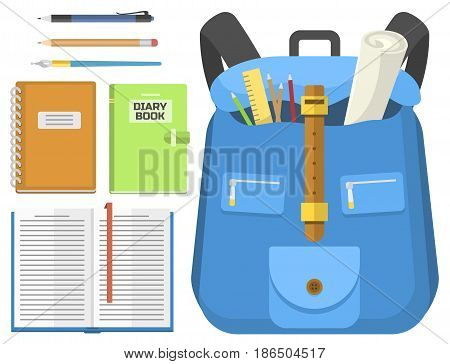 School bag. Backpack full of school supplies. Children stationary zipper educational sack. Handle bag education rucksack notebook baggage sharpener eraser ruler scissors.