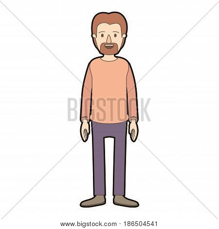 light color caricature thick contour full body male person with beard and moustache with clothing vector illustration