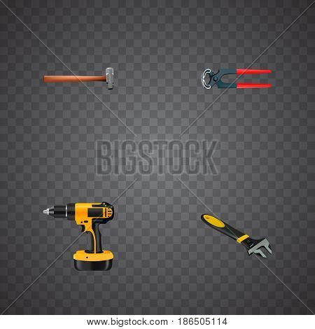 Realistic Electric Screwdriver, Wrench, Handle Hit Vector Elements. Set Of Kit Realistic Symbols Also Includes Drill, Tool, Sledgehammer Objects.