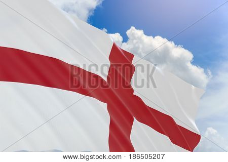 3D Rendering Of England Flag Waving On Blue Sky Background