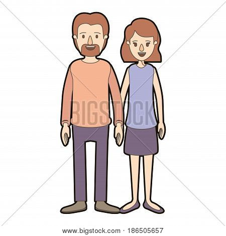 light color caricature thick contour full body couple woman with wavy short hair in skirt and man in casual clothing vector illustration