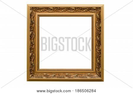 Frame of photo picture isolated on white background. Dusty.