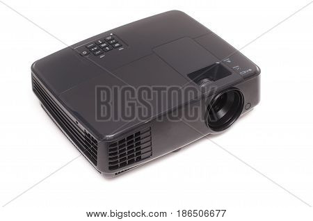 Projector isolated on white background, front view.