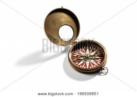 Old Brass Vintage Compass For Navigation