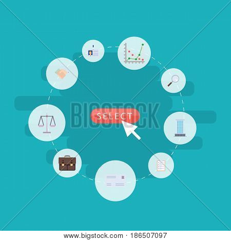 Flat Libra, Envelope, Handshake Vector Elements. Set Of Career Flat Symbols Also Includes Chart, Diagram, Libra Objects.