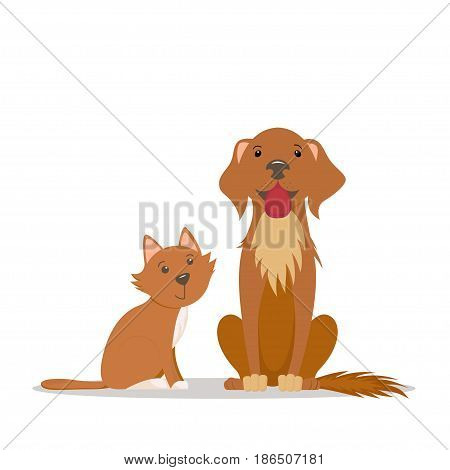 Cute lettle red cat and big friendly brown dog sitting straight, cartoon illustration isolated on white background. Cartoon portrait of red cat kitten and brown dog puppy characters, sitting together