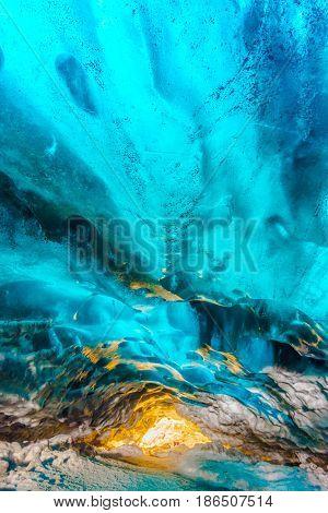 Inside ice cave in Vatnajokull, Iceland