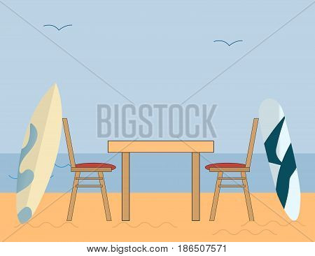 Sea Side Romantic Dinner after Surfing on a Blue Background with Blue sky and Sand. Vector illustration