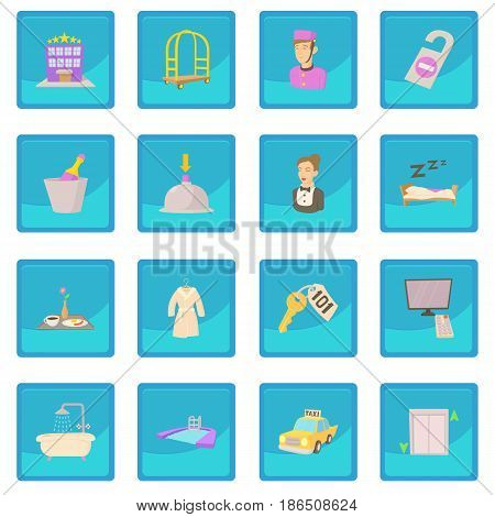 Hotel items set. Cartoon illustration of 16 hotel items vector icon blue app for any design vector illustration