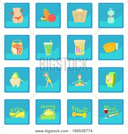 Healthy lifestyle set. Cartoon illustration of 16 healthy lifestyle vector icon blue app for any design vector illustration