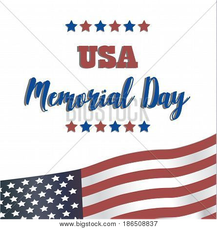 USA Memorial Day. Vector Happy Memorial Day card. Remember and honor. Festive poster or banner with hand lettering. National american holiday