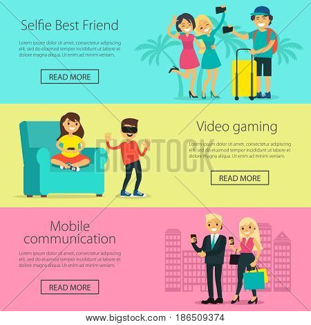 Modern electronic technology horizontal banners with people using portable gadgets and devices in different situations vector illustration